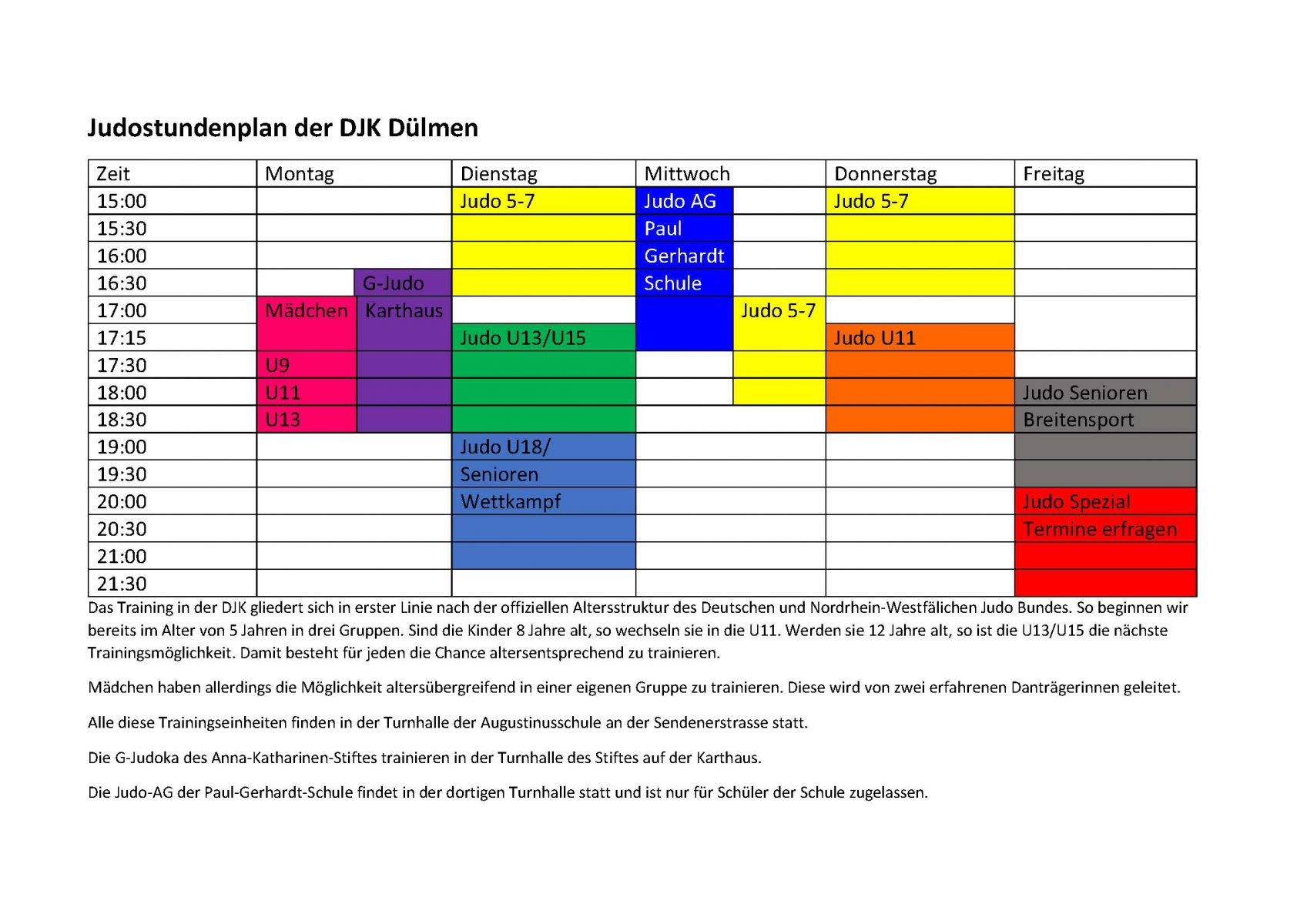 Judostundenplan der DJK Dülmen